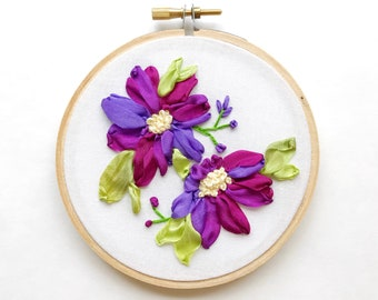 Purple Nursery Wall Art, Baby Girl Gift, Gift for Her, Gift for Mom Pink Nursery Art, Wall Decor, Floral Embroidery Hoop, Mom gift
