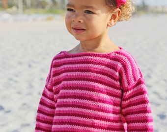 Hand Knit Baby Sweater, Girls -- ALLISON STREET -- Pink Striped -- Perfect for Spring Baby Showers -- Childrens Clothing