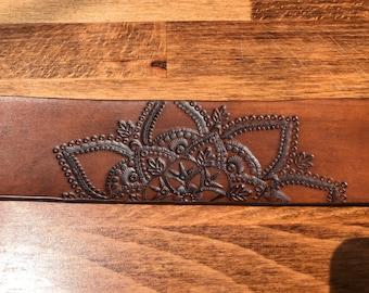 Hand tooled mandala wide leather cuff bracelet