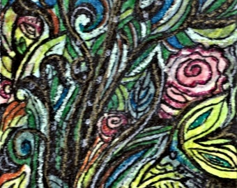 Artist trading card, ACEOs Zen Wild Flowers, abstract colorful Zen tangle of wildflowers done in colored inks