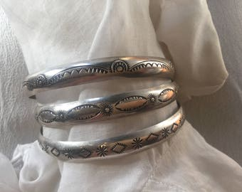 Vintage set of 3 stamped silver bracelets