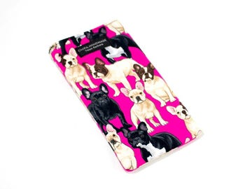 Eyeglass case for readers - French Bulldog fabric   checkbook case or cell phone pouch.
