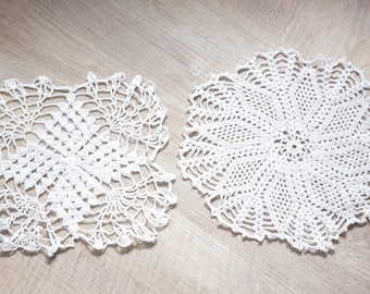Two Small Vintage Hand crocheted Doilies, White Doilies