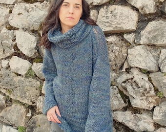 Mohair sweater/ Turtleneck sweaters/ Handknit  sweater /  Soft wool sweater /Oversized soft sweater