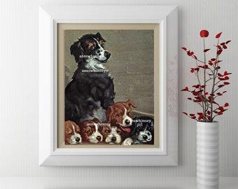 Kitchen Art Print, Child's Room Art, Family Room Art, Nursery Art Print, Mom Dog and Puppies Art  #118  FREE SHIPPING