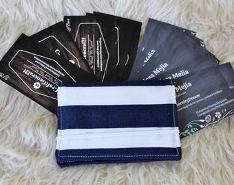 Fabric Business Card Holder. Credit Card Holder. Money Holder. Small Wallet. Card Wallet. Card Holder. Nautical Stripes. Card Case.
