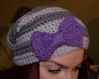 slouchy crochet hat with bow