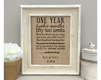 ON SALE Personalized Anniversary Gift  First Anniversary One Year Anniversary Gift  Print months weeks days hours minutes seconds Burlap