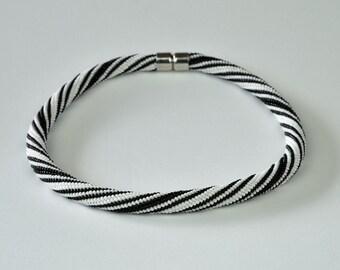 black and white - Beaded Bracelet Bead Crochet Bracelet  - Colorful Beadwork Jewelry