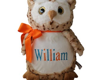 Personalized Stuffed Animal, Owl Stuffed Animal, Baby Birth Announcement, Woodland Baby Gift