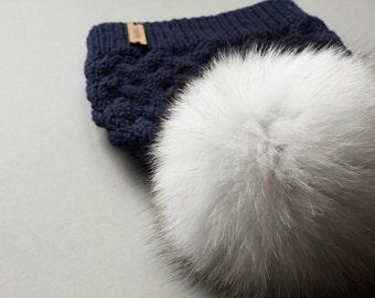 Toddler pom pom hat, cable knit baby toddler merino  kids knit hats, baby hat with fur pom pom, kids fur pom pom hat, fur toque beanie