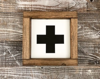 Black and White large Swiss Cross wood sign
