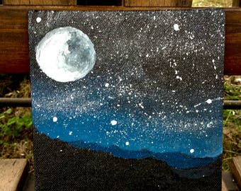 """Moonscape Original Painting on canvas, 6"""" x 6"""","""