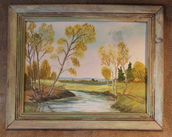 Signed, Framed Original Oil Landscape Painting, Amateur Impressionism