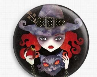 Witch Needle Minder, Licensed Art, Sandra Vargas, Cross Stitch Keeper, Maelba, Fridge Magnet, Needle Nanny, Pin Keeper, Pattern Holder
