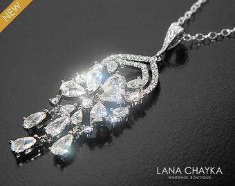 Cubic Zirconia Bridal Necklace, Crystal Bridal Necklace, Wedding Bridal Necklace, Clear CZ Silver Necklace, Victorian Sparkly Bridal Pendant