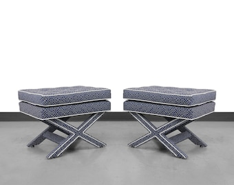 Pair of Mid-Century X Base Stools by Billy Baldwin