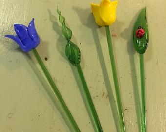 Set of Four Glass Swizzle Sticks