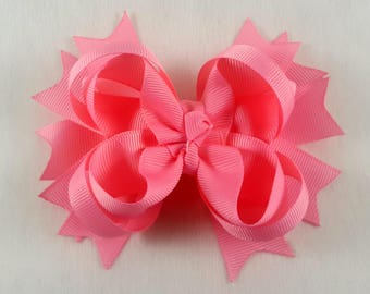 Pink Hair Bow/Hair Accessories/Little Girl Hair Bow/Toddler Hair Bow/Tween Hair Bow/Ponytail Bows/Stack Hair Bow/Children Accessories