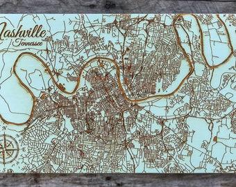Nashville, Tennessee Street - Wood Burned Map