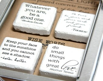 Wise Words Magnet Collection. CONCRETE Magnets in a high quality reusable tin and ultra slim (super strong) Earth magnets