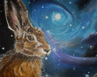 Night Hare Glossy Greeting Card