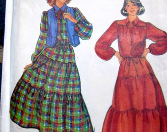 Butterick 6331 Jane Tise 70s Tier Womens Dress Sewing Pattern Size 10 Bust 32