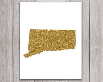 Connecticut Art - 8x10 Gold Glitter, Connecticut State, Art Print, Connecticut Printable Art, State Silhouette, Glitter Print