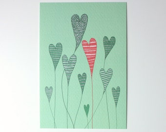 SALE / Hearts print / Growing hearts / A6 print / Mini art print / Illustration / Contemporary art / Postcard / Valentines Day