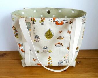 Fabric Handbag, Womens Handbag, Shoulder Handbag, Fabric Tote Bag, Fabric Shoulder Bag, Tote Bag, Fox and Owl, Canvas Tote, Shopping Bag