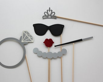 Bridal Photo Booth Props Beautiful Handcrafted Photobooth Props with Glitter