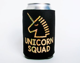 Unicorn Squad//Can Cooler//Drink Holders//Squad Goals//Party Favors//Hologram Glitter//Black