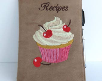 Fabric Covered Recipe Notebook, in Fake Suede, Embroidered with Cherry Cupcake Design, Complete with A5 (Large) Notebook.
