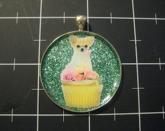 100% Donation Item: Pink Rose Chihuahua Cupcake Pendant, All proceeds go to the current selected animal charity
