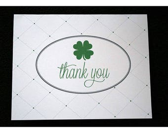 Shamrock Thank You Notes - Irish Four Leaf Clover - Quilted Background - Thank You Cards