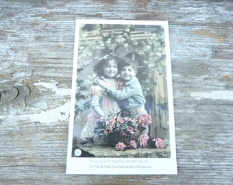Vintage 1900s recolored French postcard  adorable boy & girl