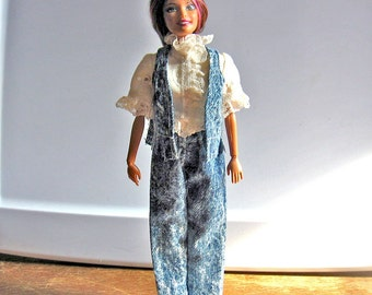 Barbie Blue Denim Pants and Vest Set with Ivory Eyelet Shirt