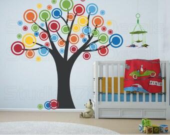 Nursery Tree Vinyl Wall Decal - Polka Dots Bubble Tree - Childrens Decor - Nursery Wall Decals - Dots and Circles Decals - 78x78
