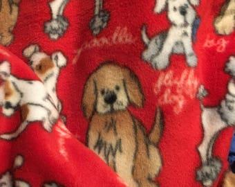 Hand tied, reversible, dog print, fleece blanket