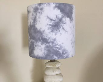 """Grey shibori 8""""x20cm lampshade"""