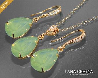 Chrysolite Green Opal Gold Jewelry Set Swarovski Pastel Green Opal Necklace&Earrings Set Green Opal Teardrop Set Bridesmaids Bridal Jewelry