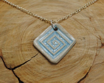 Handcrafted Ceramic Necklace   Square Light Blue with Silver Chain