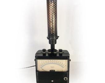 Turn of the Century, Weston Voltmeter Light, Steam Punk Lamp, Unique Lighting, Industrial Cage Lamp, Industrial Light, Vintage Ammeter