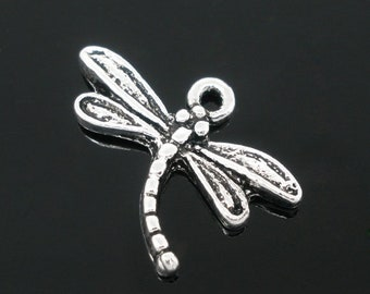 5 pcs Antique Silver Dragonfly Charm Pendant