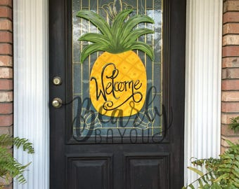 "SUMMER Pineapple Door Hanger ""Welcome"" Hand Painted"