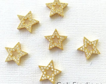 18K Gold Plated Star Pave Charm, Cz Star Pendant, Star Charm, Pave Star, Micro Pave, 'Diamond' Star, Gold Star, Cz Star, Star Pendant [1296]