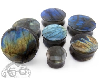 """Grade A Labradorite Stone Plugs (0G - 1 & 1/4"""" Inch) - Sold in Pairs - New!"""