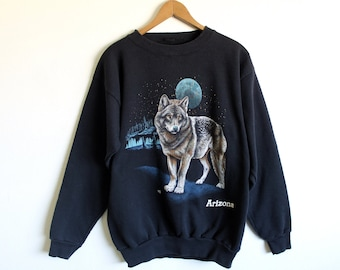MEDIUM Vintage 1990s Arizona Wolf Full Moon Sweatshirt
