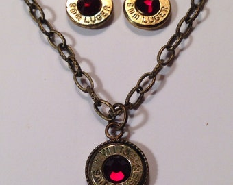 9mm bullet ammo jewelry birthstone necklace earrings January garnet