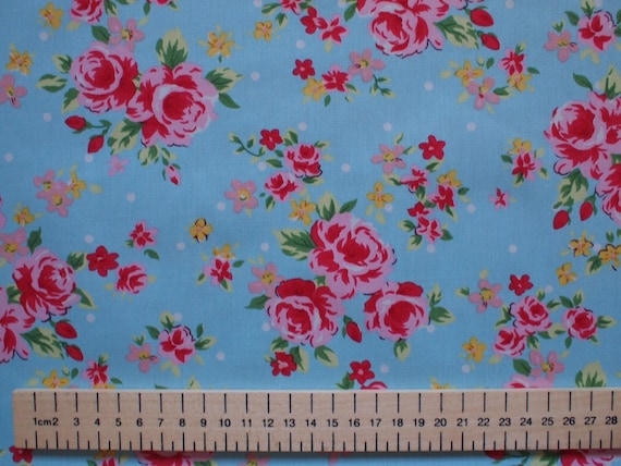 High quality cotton poplin printed in Japan, roses on blue